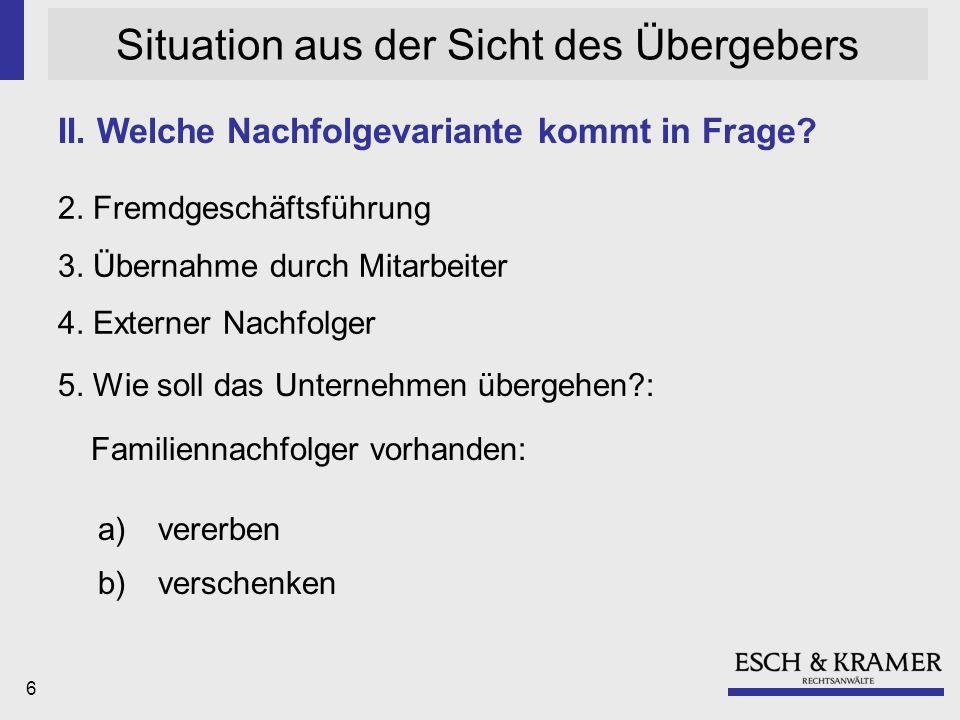 6 Situation aus der Sicht des Übergebers 2.Fremdgeschäftsführung 3.