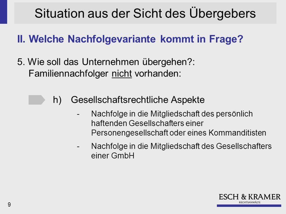20 Situation aus der Sicht des Übergebers 14.