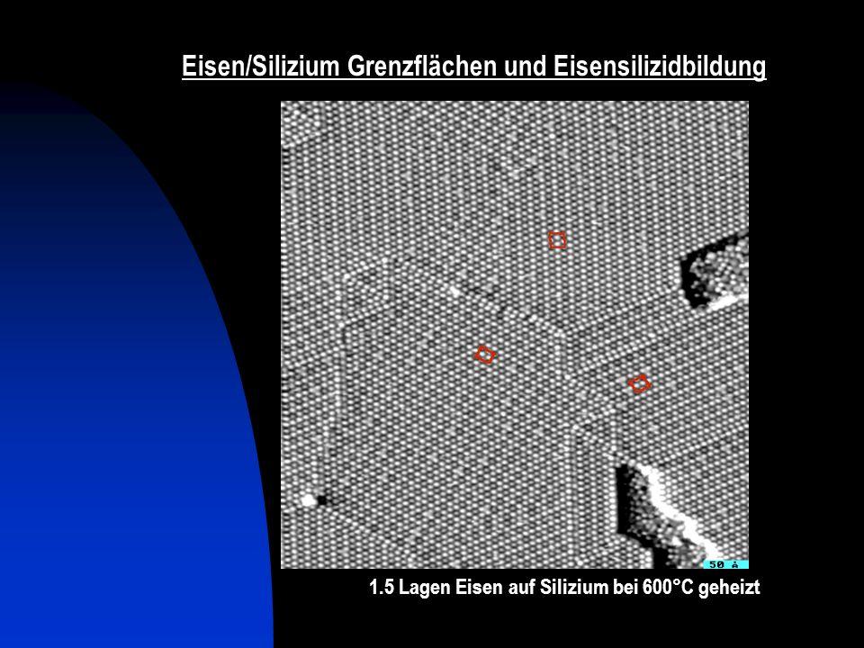 Eisen/Silizium Grenzflächen und Eisensilizidbildung 3 Lagen Eisen auf Silizium bei 600°C geheizt 1.5 Lagen Eisen auf Silizium bei 600°C geheizt