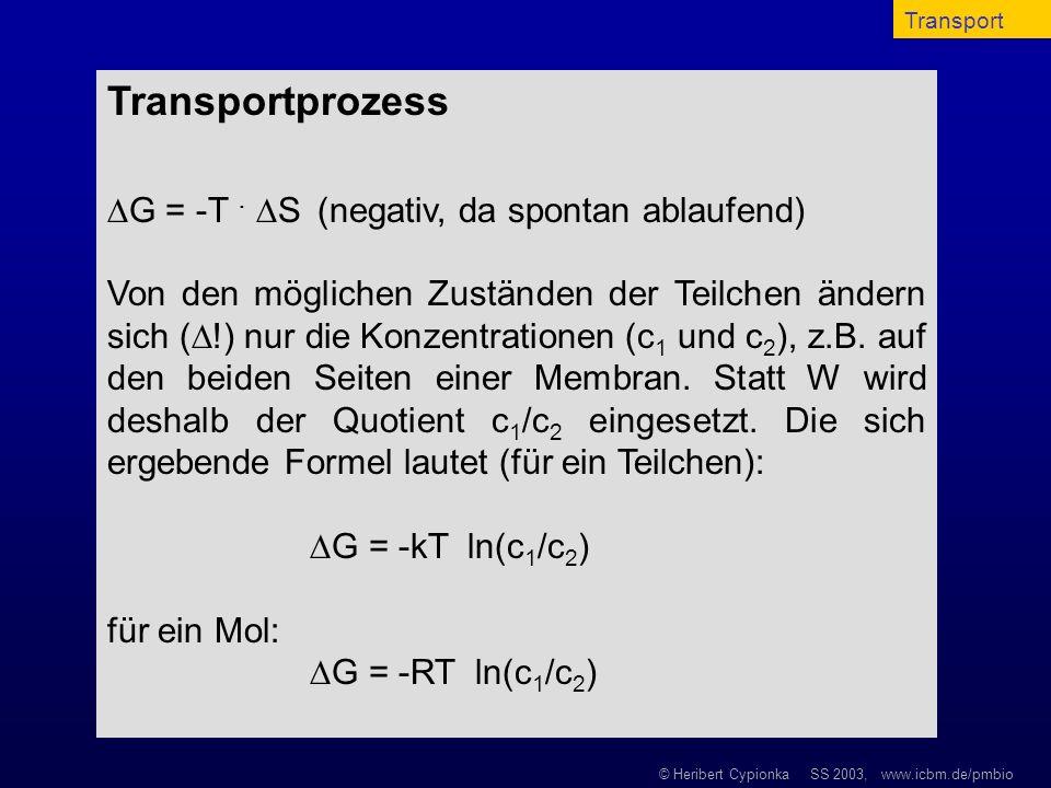 © Heribert Cypionka SS 2003, www.icbm.de/pmbio Transportprozess G = -T. S(negativ, da spontan ablaufend) Von den möglichen Zuständen der Teilchen ände