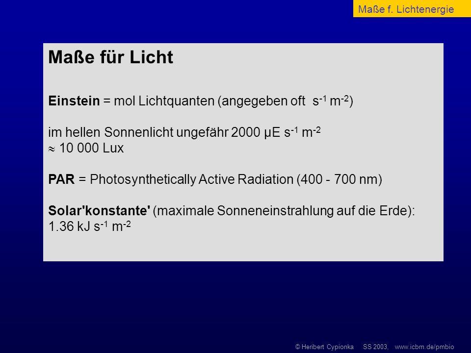 © Heribert Cypionka SS 2003, www.icbm.de/pmbio Maße für Licht Einstein = mol Lichtquanten (angegeben oft s -1 m -2 ) im hellen Sonnenlicht ungefähr 20