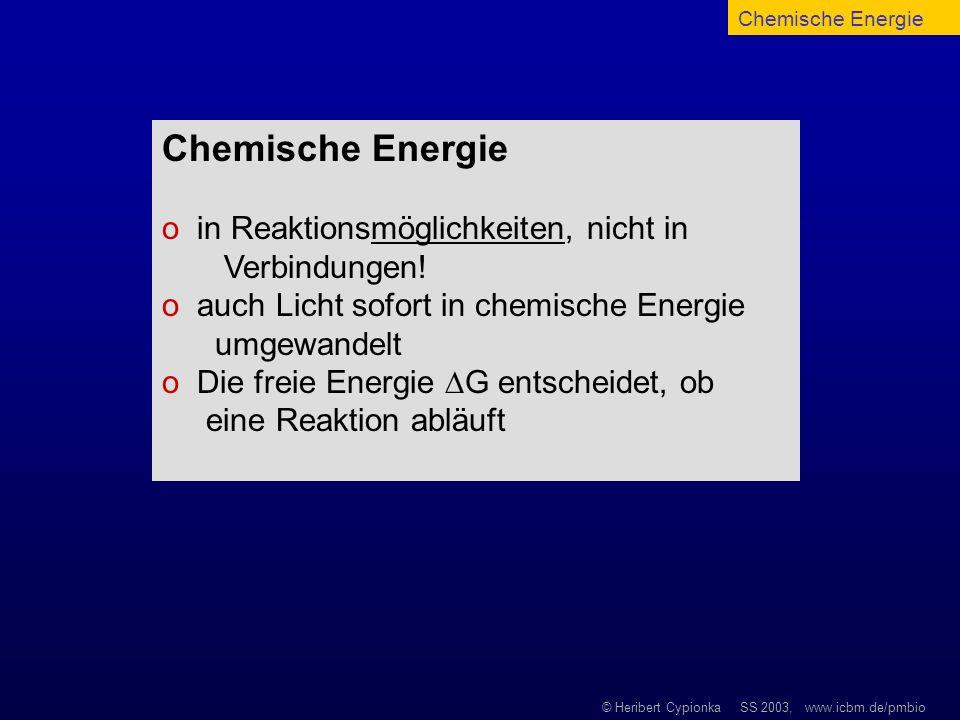 © Heribert Cypionka SS 2003, www.icbm.de/pmbio Chemische Energie o in Reaktionsmöglichkeiten, nicht in Verbindungen! o auch Licht sofort in chemische