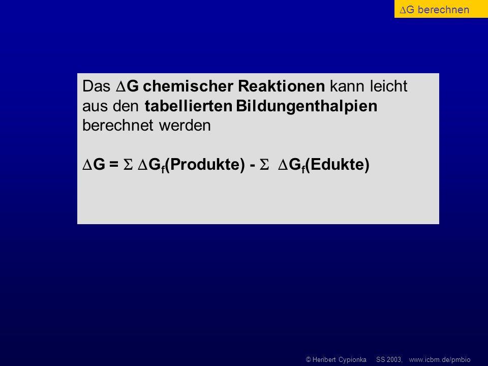© Heribert Cypionka SS 2003, www.icbm.de/pmbio Das G chemischer Reaktionen kann leicht aus den tabellierten Bildungenthalpien berechnet werden G = G f