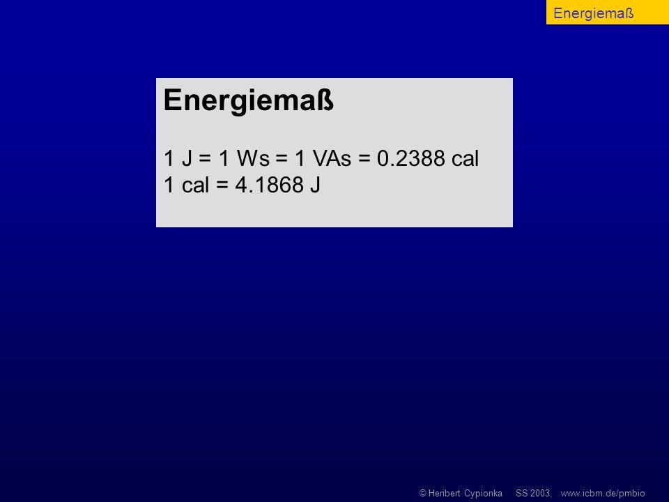 © Heribert Cypionka SS 2003, www.icbm.de/pmbio Energiemaß 1 J = 1 Ws = 1 VAs = 0.2388 cal 1 cal = 4.1868 J Energiemaß