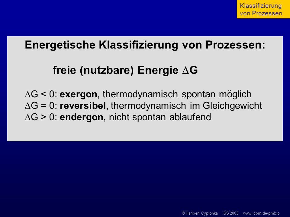 © Heribert Cypionka SS 2003, www.icbm.de/pmbio Energetische Klassifizierung von Prozessen: freie (nutzbare) Energie G G < 0: exergon, thermodynamisch