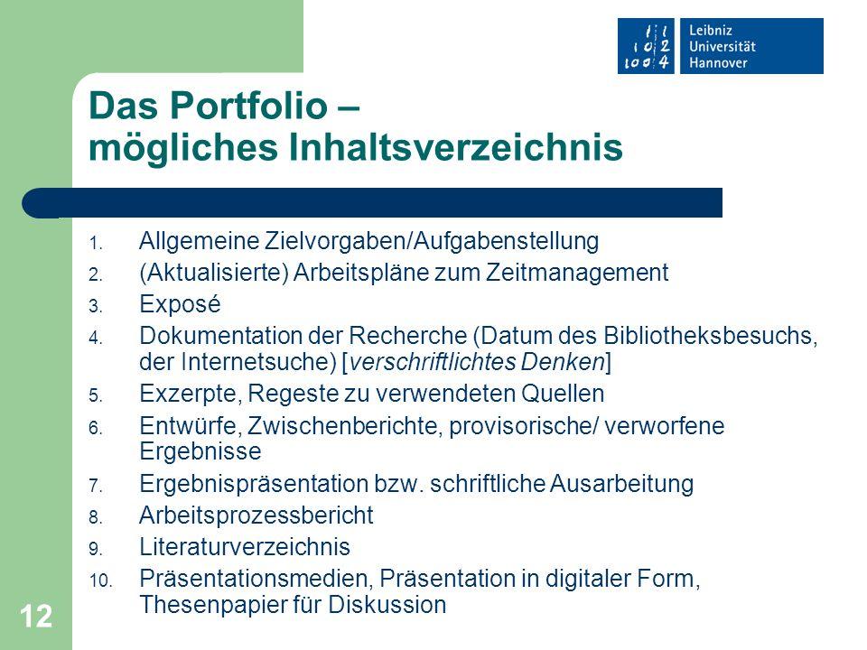 12 Das Portfolio – mögliches Inhaltsverzeichnis 1. Allgemeine Zielvorgaben/Aufgabenstellung 2. (Aktualisierte) Arbeitspläne zum Zeitmanagement 3. Expo