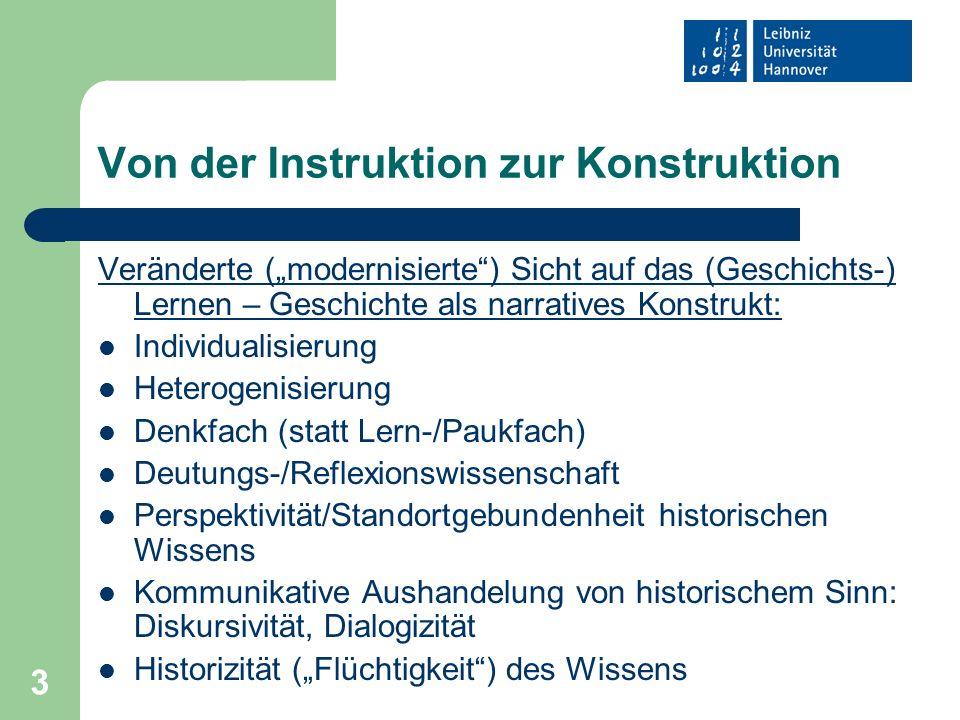 3 Von der Instruktion zur Konstruktion Veränderte (modernisierte) Sicht auf das (Geschichts-) Lernen – Geschichte als narratives Konstrukt: Individual