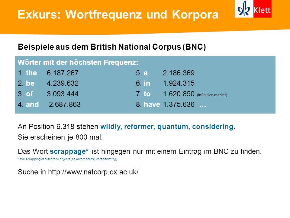 Exkurs: Wortfrequenz und Korpora Beispiele aus dem British National Corpus (BNC) Wörter mit der höchsten Frequenz: 1. the 6.187.267 5. a 2.186.369 2.