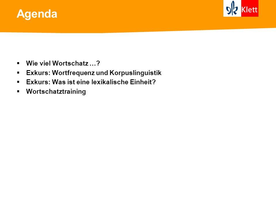 Agenda Wie viel Wortschatz …? Exkurs: Wortfrequenz und Korpuslinguistik Exkurs: Was ist eine lexikalische Einheit? Wortschatztraining