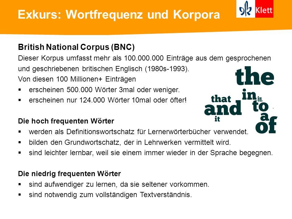 Exkurs: Wortfrequenz und Korpora British National Corpus (BNC) Dieser Korpus umfasst mehr als 100.000.000 Einträge aus dem gesprochenen und geschriebe