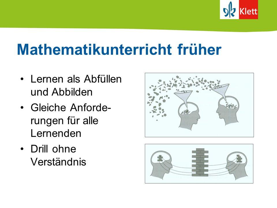 Mathematikunterricht früher Lernen als Abfüllen und Abbilden Gleiche Anforde- rungen für alle Lernenden Drill ohne Verständnis