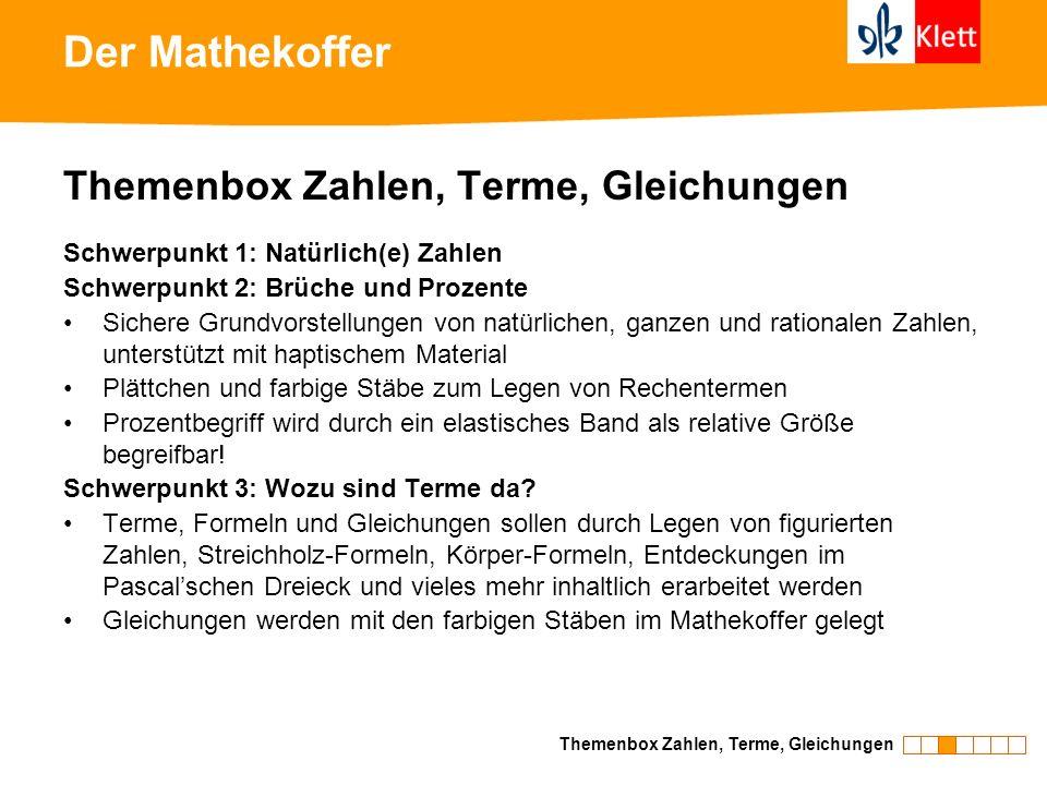 Der Mathekoffer Themenbox Zahlen, Terme, Gleichungen Schwerpunkt 1: Natürlich(e) Zahlen Schwerpunkt 2: Brüche und Prozente Sichere Grundvorstellungen