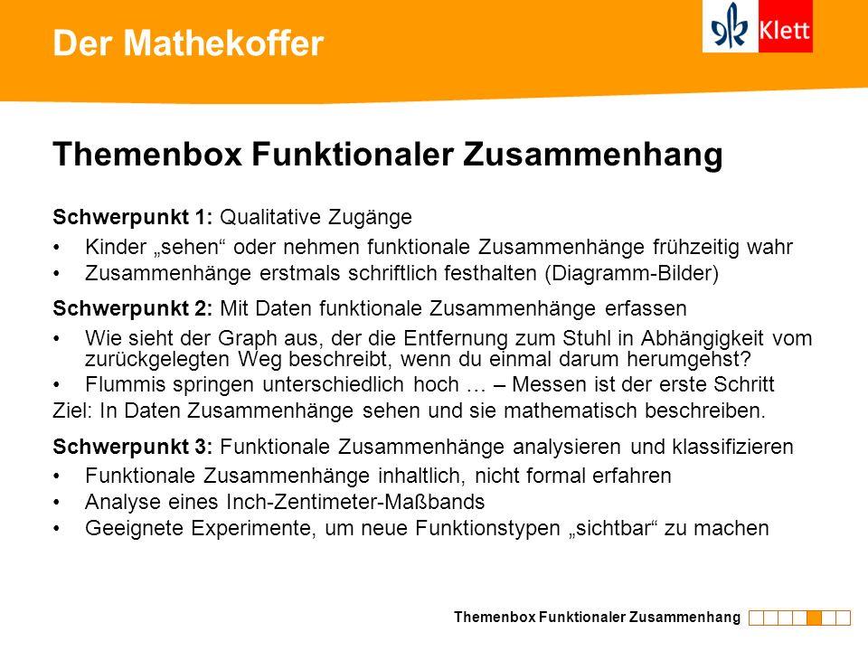 Der Mathekoffer Themenbox Funktionaler Zusammenhang Schwerpunkt 1: Qualitative Zugänge Kinder sehen oder nehmen funktionale Zusammenhänge frühzeitig w