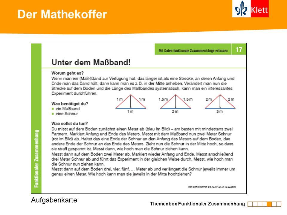 Der Mathekoffer Themenbox Funktionaler Zusammenhang Aufgabenkarte