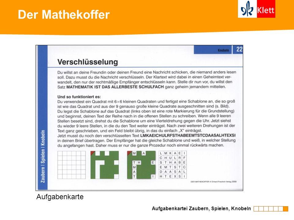 Der Mathekoffer Aufgabenkartei Zaubern, Spielen, Knobeln Aufgabenkarte