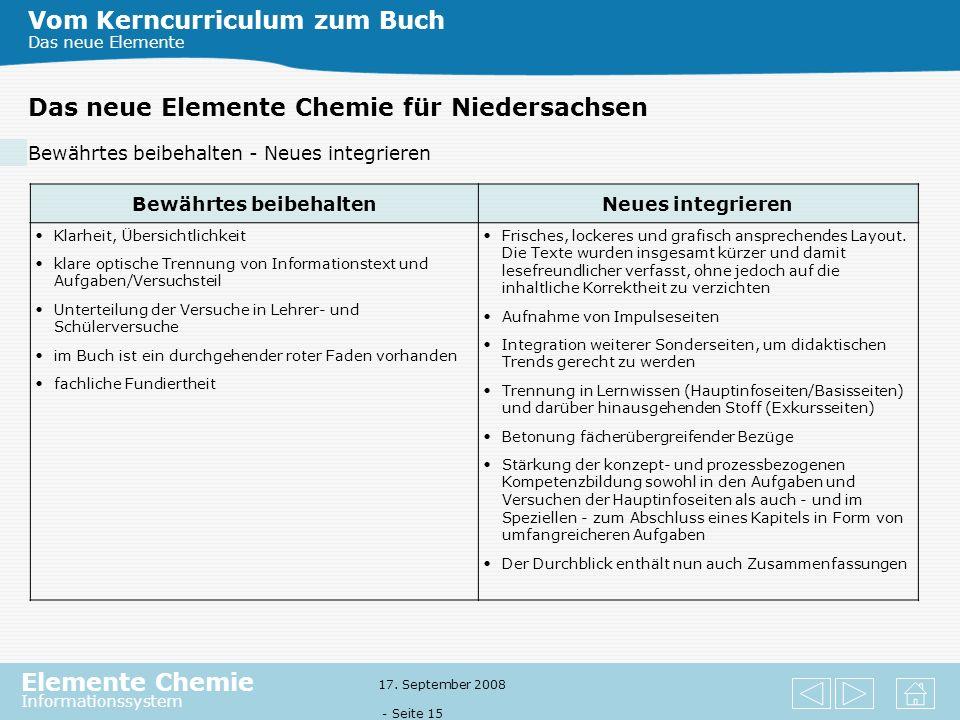 Elemente Chemie Informationssystem 17. September 2008 - Seite 14 Das Prinzip der Lernaufgabe Aufgabenkultur Lernaufgabe Die Aufgaben sollen die konzep
