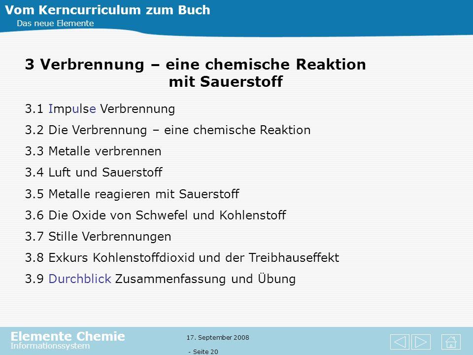Elemente Chemie Informationssystem 17. September 2008 - Seite 19 Vom Kerncurriculum zum Buch Das neue Elemente 2.1 Impulse Feuer 2.2 Beobachtungen an