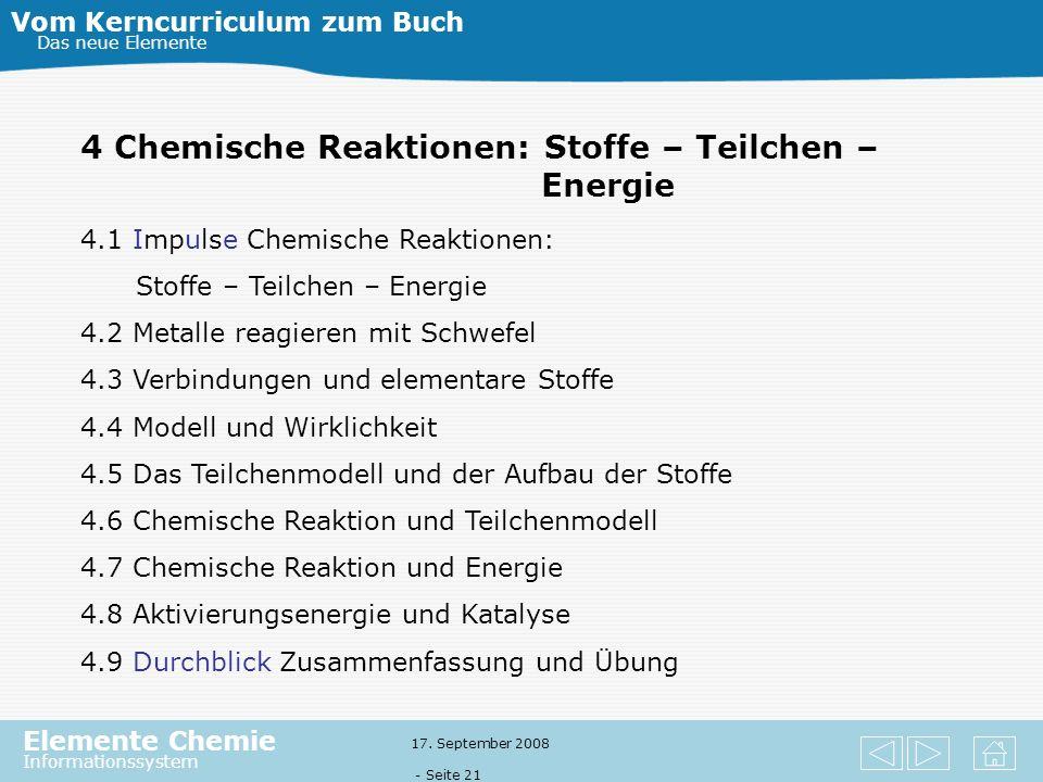 Elemente Chemie Informationssystem 17. September 2008 - Seite 20 3 Verbrennung – eine chemische Reaktion mit Sauerstoff Vom Kerncurriculum zum Buch Da