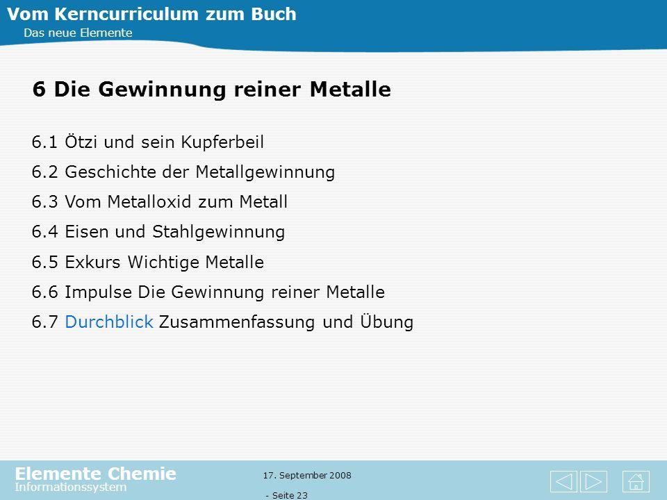 Elemente Chemie Informationssystem 17. September 2008 - Seite 22 5 Quantitative Aspekte in der Chemie Vom Kerncurriculum zum Buch Das neue Elemente 5.