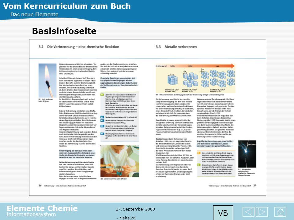 Elemente Chemie Informationssystem 17. September 2008 - Seite 25 Das neue Elemente Einstieg Einstieg in ein Thema bzw. Kapitel über motivierende Seite