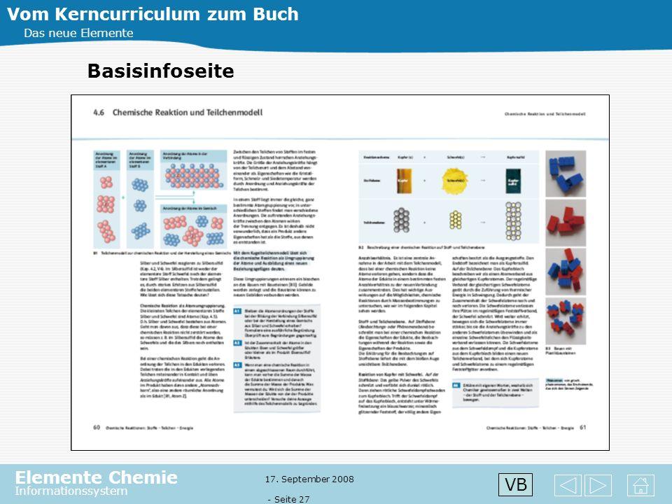 Elemente Chemie Informationssystem 17. September 2008 - Seite 26 Vom Kerncurriculum zum Buch Das neue Elemente Basisinfoseite VB