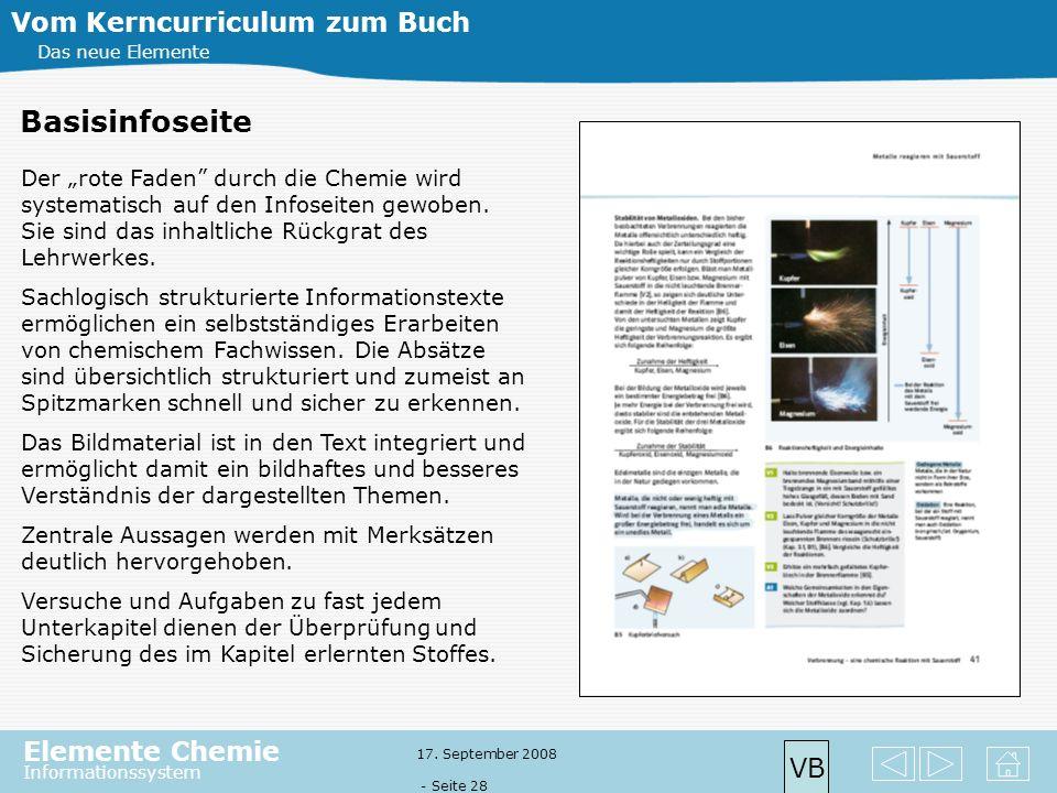 Elemente Chemie Informationssystem 17. September 2008 - Seite 27 Vom Kerncurriculum zum Buch Das neue Elemente Basisinfoseite VB