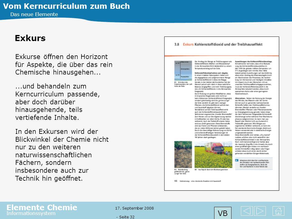 Elemente Chemie Informationssystem 17. September 2008 - Seite 31 Vom Kerncurriculum zum Buch Das neue Elemente Fachorientierte oder fächerver- bindend