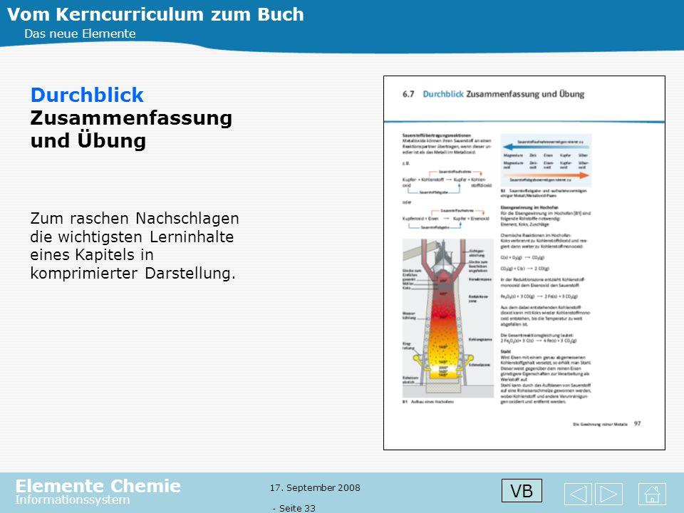 Elemente Chemie Informationssystem 17. September 2008 - Seite 32 Vom Kerncurriculum zum Buch Das neue Elemente Exkurse öffnen den Horizont für Aspekte