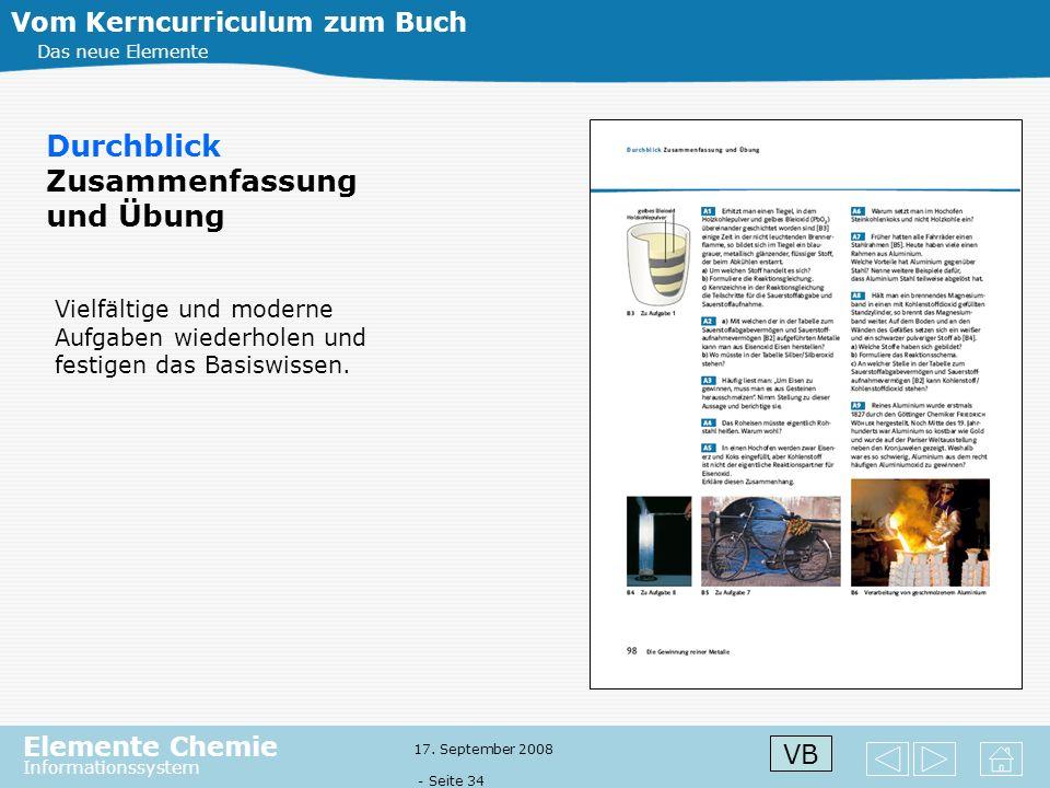 Elemente Chemie Informationssystem 17. September 2008 - Seite 33 Vom Kerncurriculum zum Buch Das neue Elemente Durchblick Zusammenfassung und Übung Zu