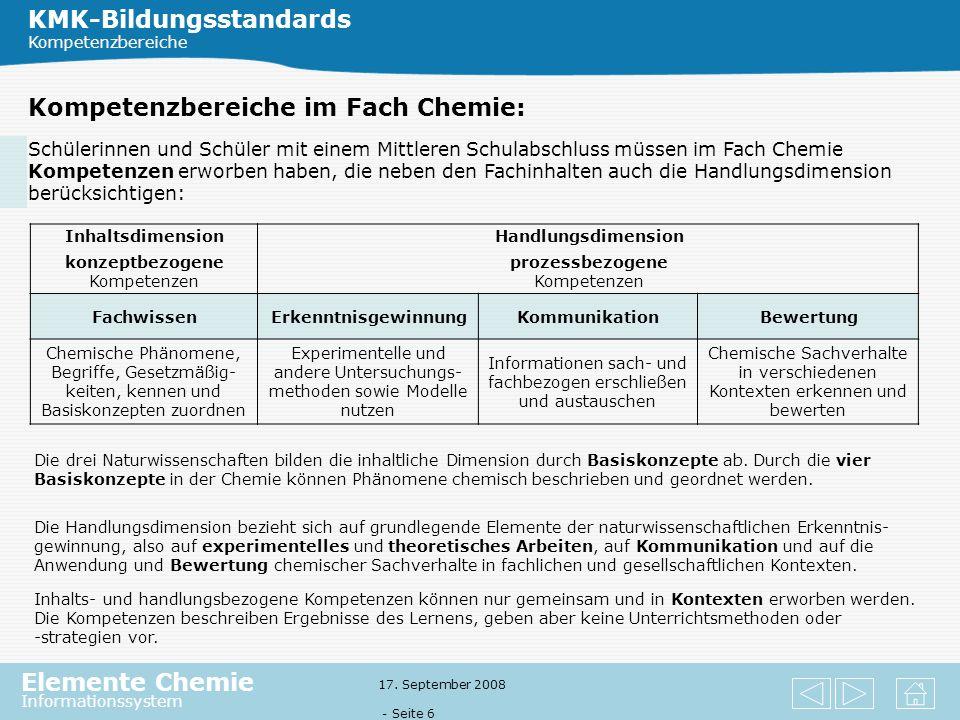 Elemente Chemie Informationssystem 17. September 2008 - Seite 5 Was sind Kompetenzen? Kompetenzen sind nach Weinert (2001) die bei Individuen verfüg-