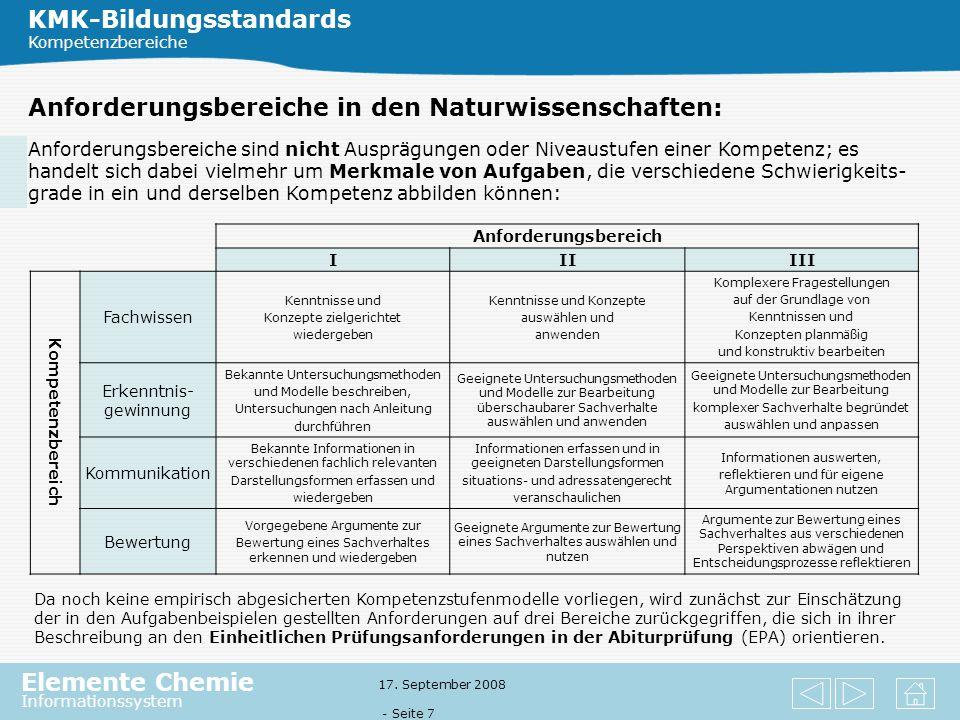Elemente Chemie Informationssystem 17. September 2008 - Seite 6 Kompetenzbereiche im Fach Chemie: KMK-Bildungsstandards Kompetenzbereiche Die drei Nat