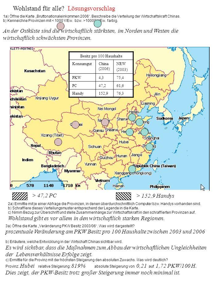 Wohlstand für alle? Lösungsvorschlag 1a) Öffne die Karte Bruttonationaleinkommen 2006. Beschreibe die Verteilung der Wirtschaftskraft Chinas. b) Kenne