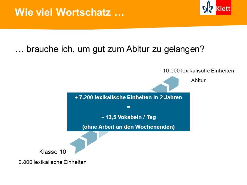 Wie viel Wortschatz … … brauche ich, um gut zum Abitur zu gelangen? Klasse 10 2.800 lexikalische Einheiten 10.000 lexikalische Einheiten Abitur + 7.20