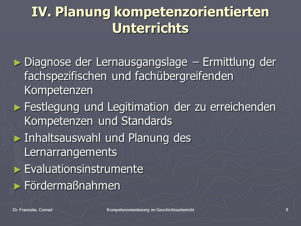 Dr. Franziska ConradKompetenzorientierung im Geschichtsunterricht8 IV. Planung kompetenzorientierten Unterrichts Diagnose der Lernausgangslage – Ermit