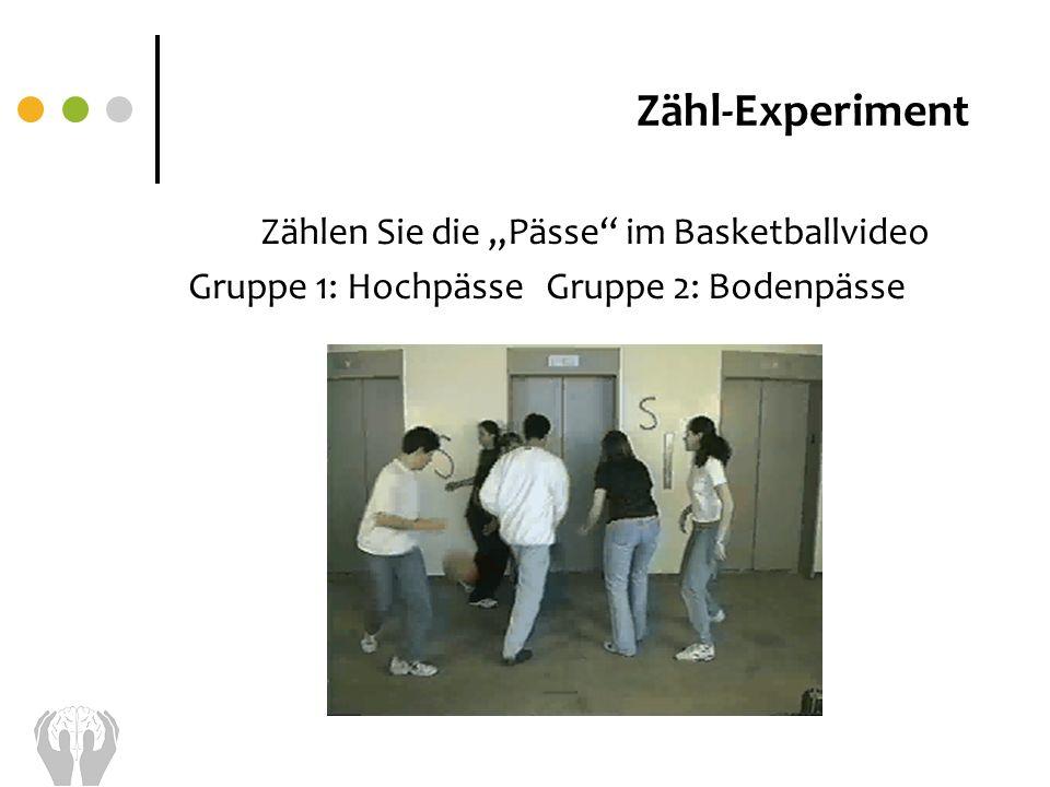Zählen Sie die Pässe im Basketballvideo Gruppe 1: Hochpässe Gruppe 2: Bodenpässe Zähl-Experiment