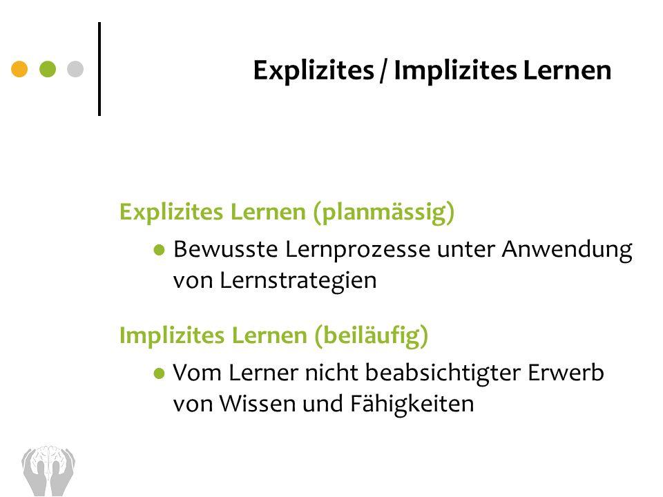 Explizites / Implizites Lernen Explizites Lernen (planmässig) Bewusste Lernprozesse unter Anwendung von Lernstrategien Implizites Lernen (beiläufig) V