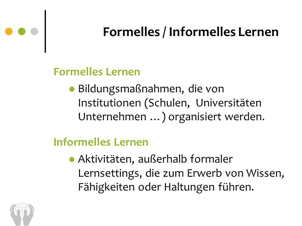 Formelles / Informelles Lernen Formelles Lernen Bildungsmaßnahmen, die von Institutionen (Schulen, Universitäten Unternehmen …) organisiert werden. In