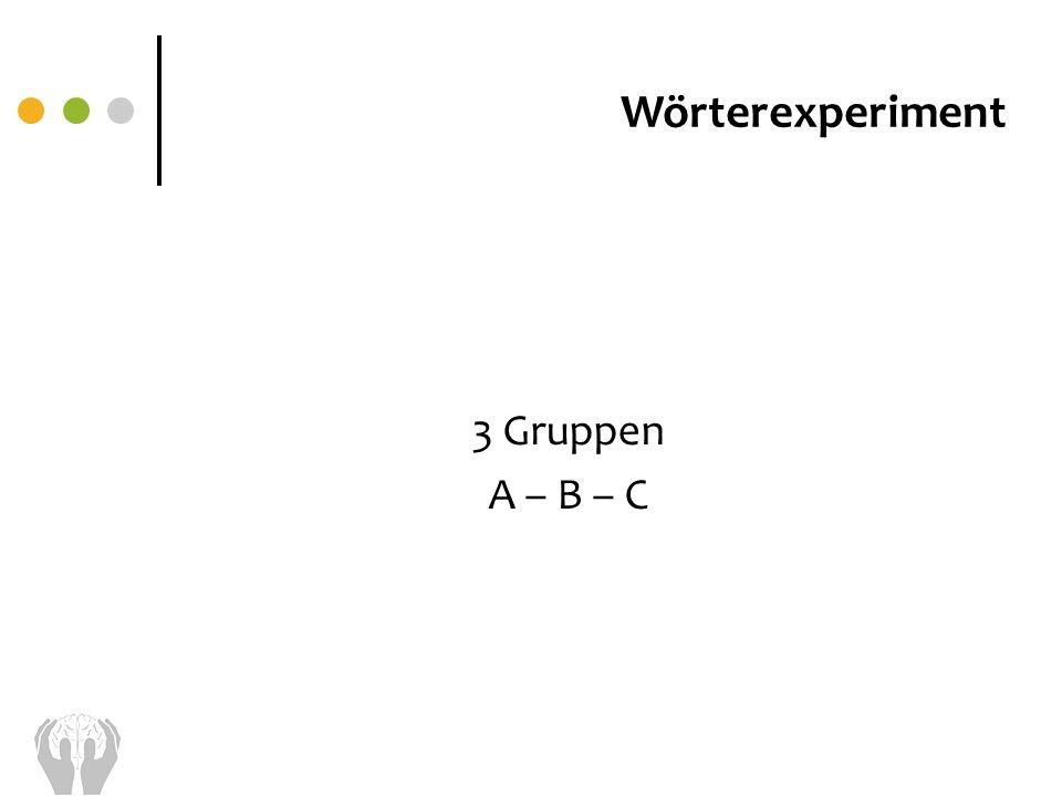 Wörterexperiment 3 Gruppen A – B – C