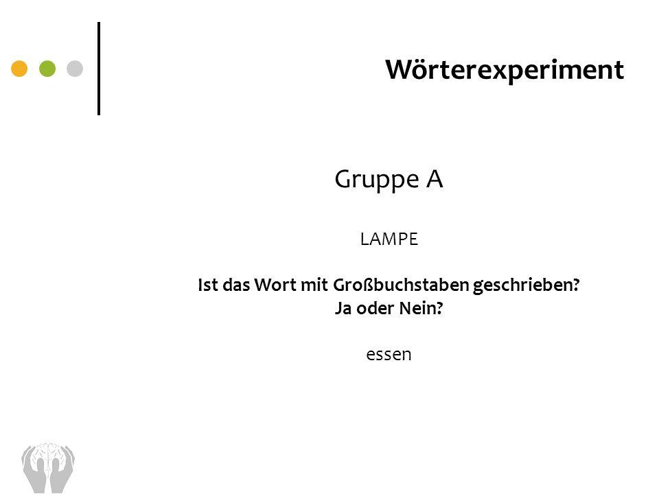 Wörterexperiment Gruppe A LAMPE Ist das Wort mit Großbuchstaben geschrieben? Ja oder Nein? essen