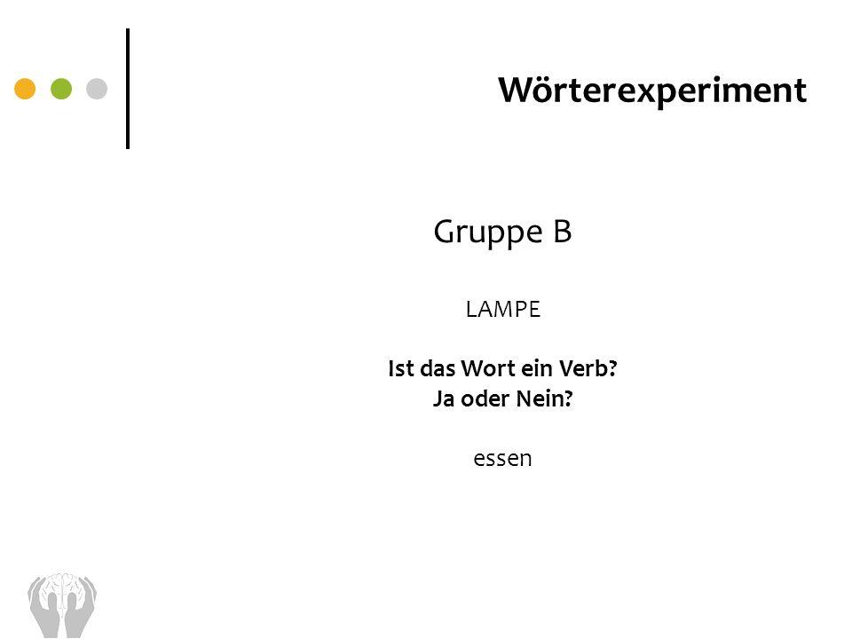 Wörterexperiment Gruppe B LAMPE Ist das Wort ein Verb? Ja oder Nein? essen