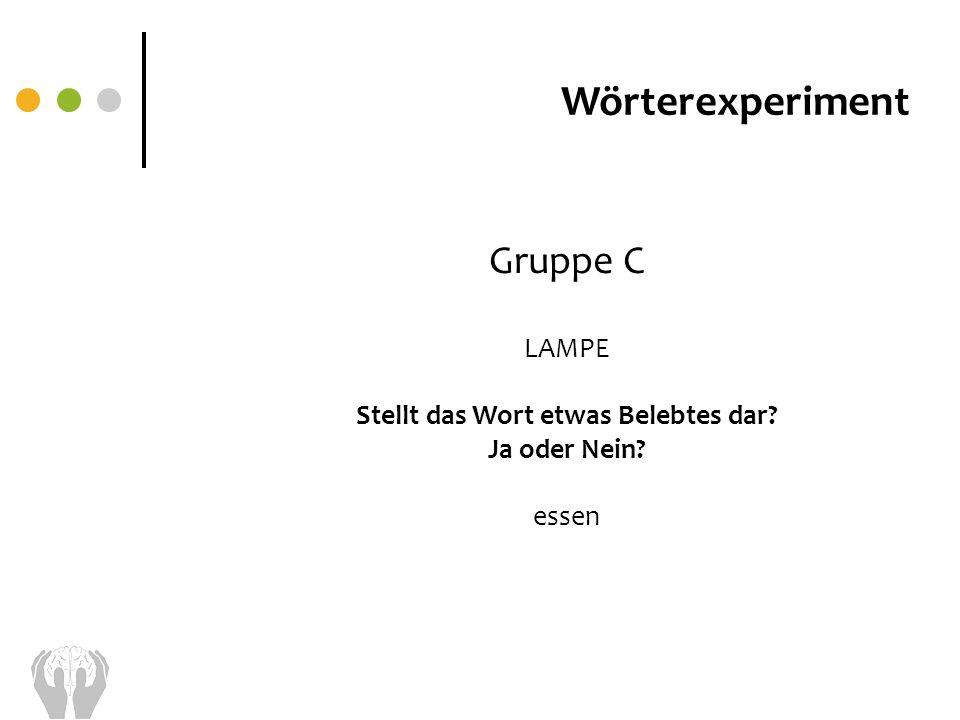 Wörterexperiment Gruppe C LAMPE Stellt das Wort etwas Belebtes dar? Ja oder Nein? essen