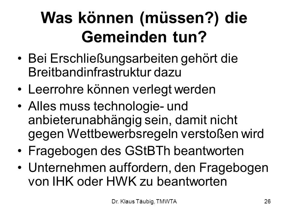 Dr.Klaus Täubig, TMWTA26 Was können (müssen?) die Gemeinden tun.