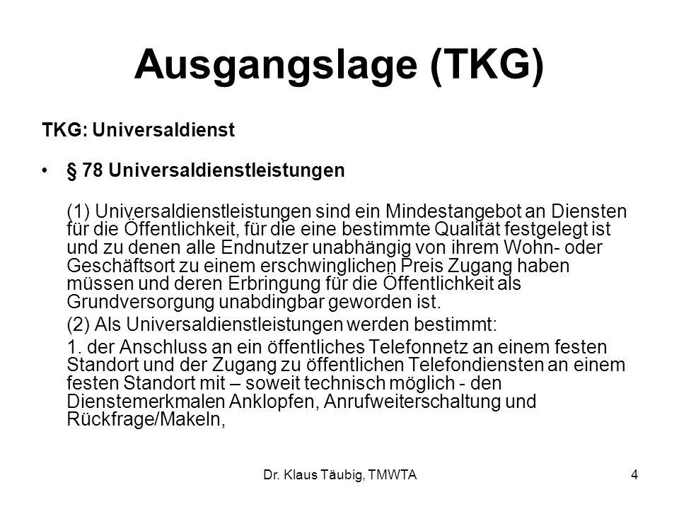 Dr. Klaus Täubig, TMWTA4 Ausgangslage (TKG) TKG: Universaldienst § 78 Universaldienstleistungen (1) Universaldienstleistungen sind ein Mindestangebot