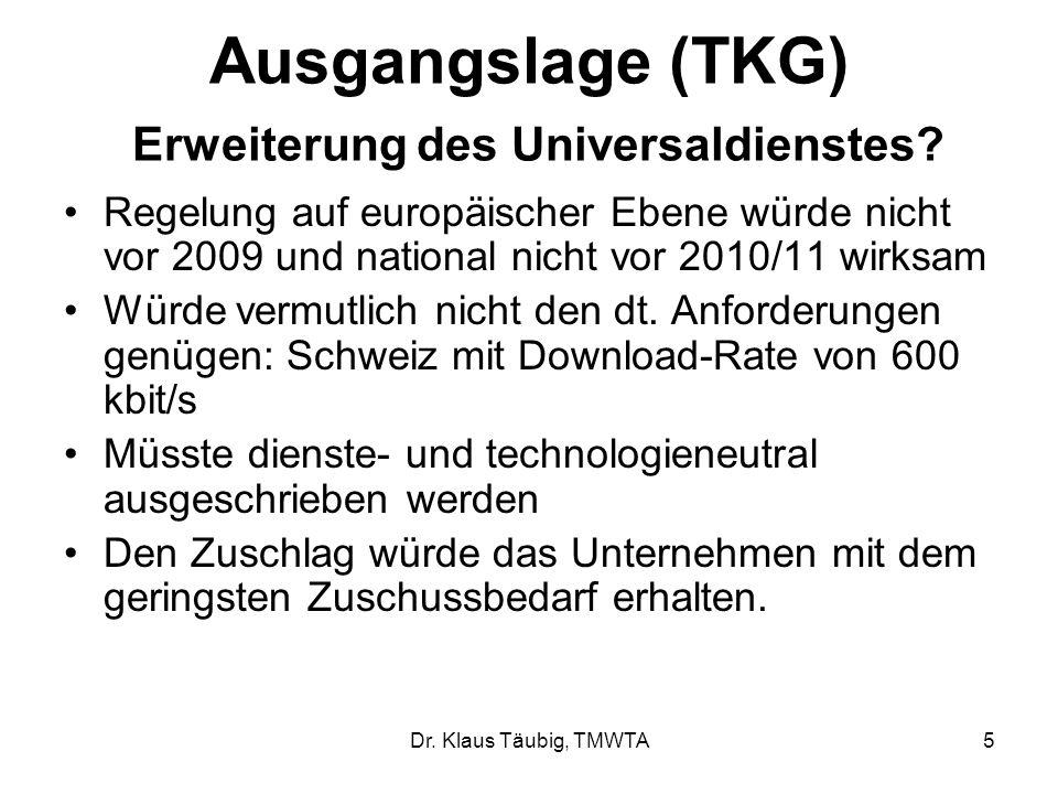 Dr.Klaus Täubig, TMWTA5 Ausgangslage (TKG) Erweiterung des Universaldienstes.