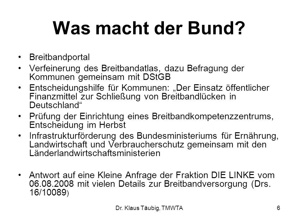 Dr.Klaus Täubig, TMWTA6 Was macht der Bund.