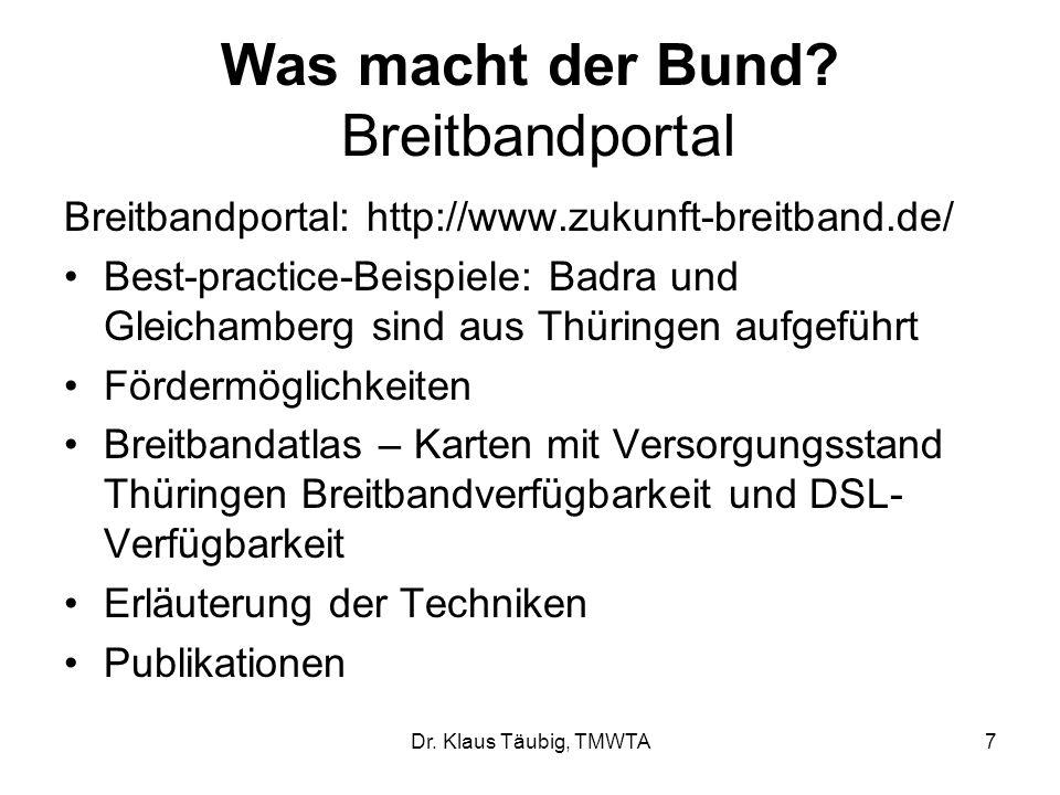 Dr.Klaus Täubig, TMWTA7 Was macht der Bund.