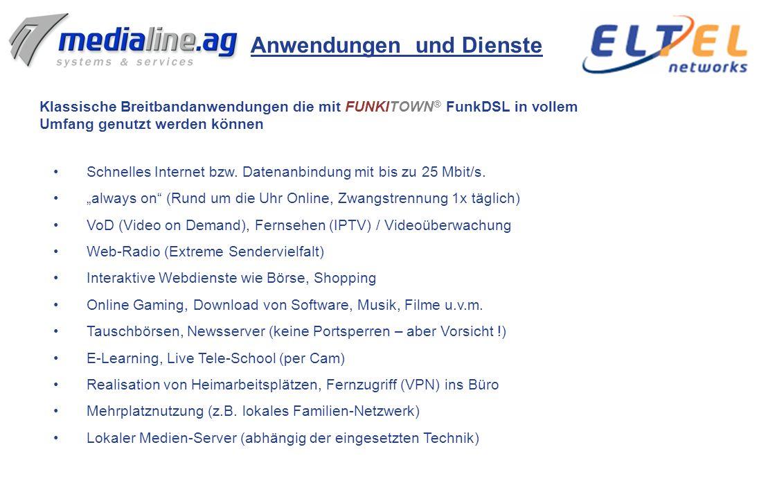 Breitband-Internet über Funk mit FUNKITOWN ® von Medialine und Eltel Networks FUNKITOWN ® - die Lösung Seit 2004 werden im Rahmen der Marke FUNKITOWN