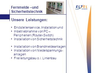 Mattieren Fernmelde –und Sicherheitstechnik Endstellenservice, Installation und Inbetriebnahme von PC – Peripherien (Router-Switch) Installation von S