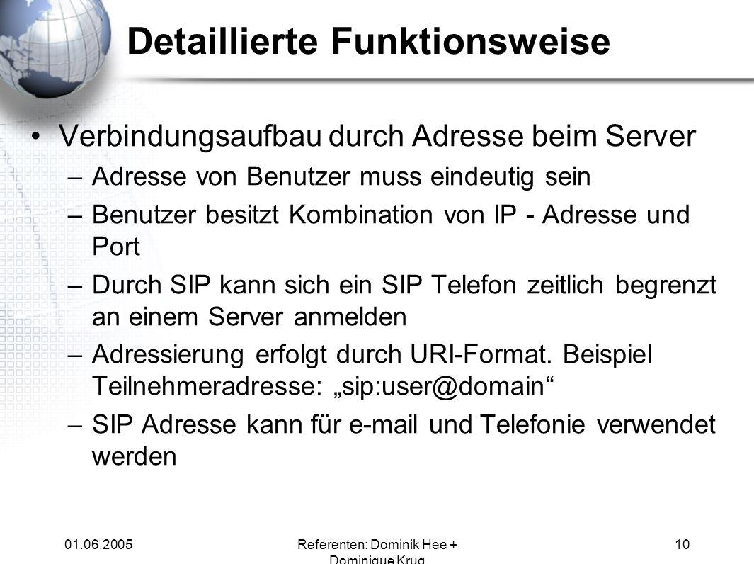 01.06.2005Referenten: Dominik Hee + Dominique Krug 10 Verbindungsaufbau durch Adresse beim Server –Adresse von Benutzer muss eindeutig sein –Benutzer