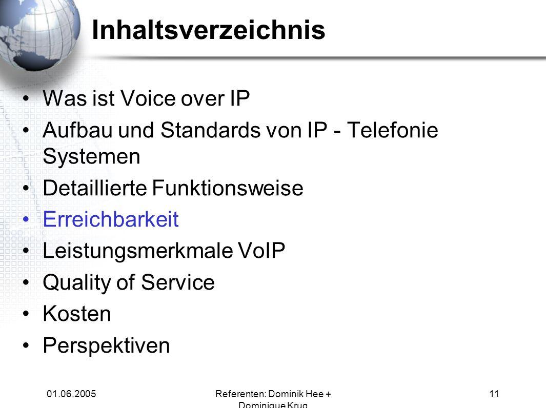 01.06.2005Referenten: Dominik Hee + Dominique Krug 11 Inhaltsverzeichnis Was ist Voice over IP Aufbau und Standards von IP - Telefonie Systemen Detail